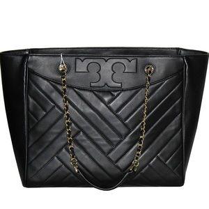 NWT Tory Burch Alexa Flat Leather Tote Black $400